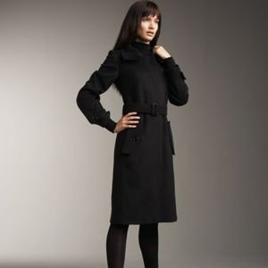 Burberry London Baswick Black Belted Long Coat